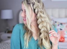 acconciature intrecciate capelli lunghi treccia laterale